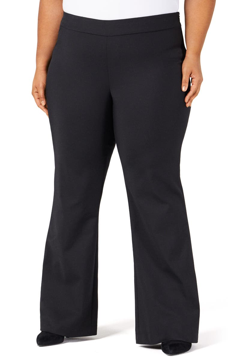 PARI PASSU Sateen Flare Pants, Main, color, BLACK