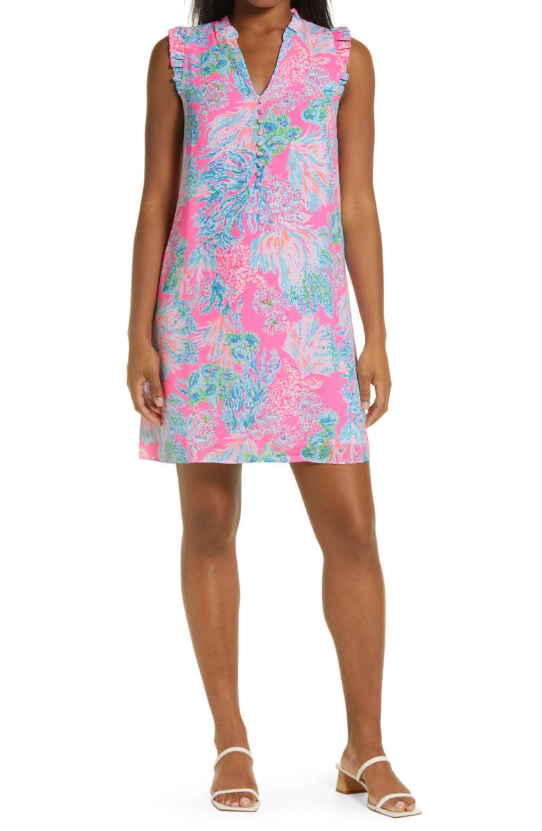 LILLY PULITZER<SUP>®</SUP> Cally Shift Dress, Main, color, PROSECCO PINK SEAING THINGS