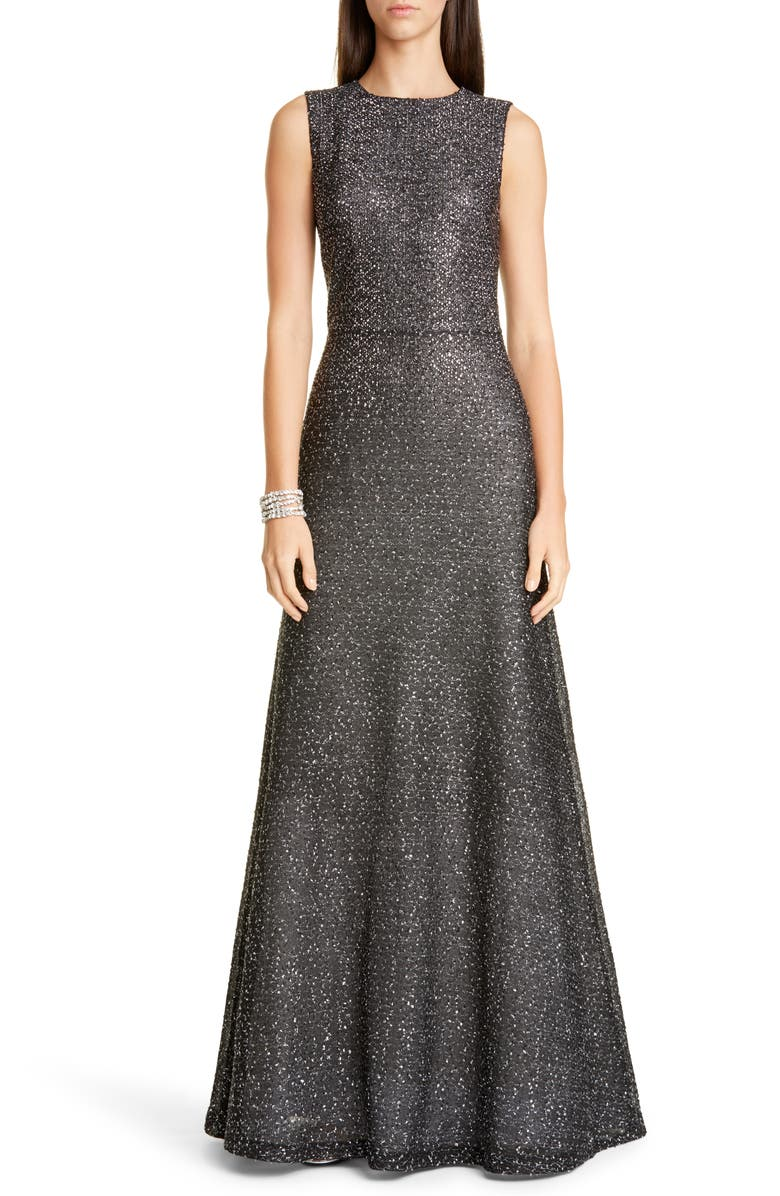 ST. JOHN EVENING Embellished Netting Knit Trumpet Gown, Main, color, 001