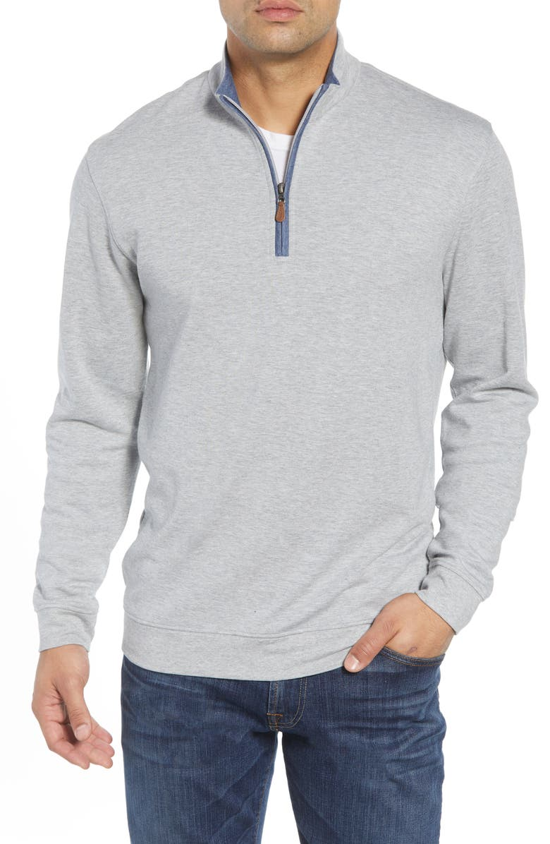 JOHNNIE-O Sully Quarter Zip Pullover, Main, color, LIGHT GREY