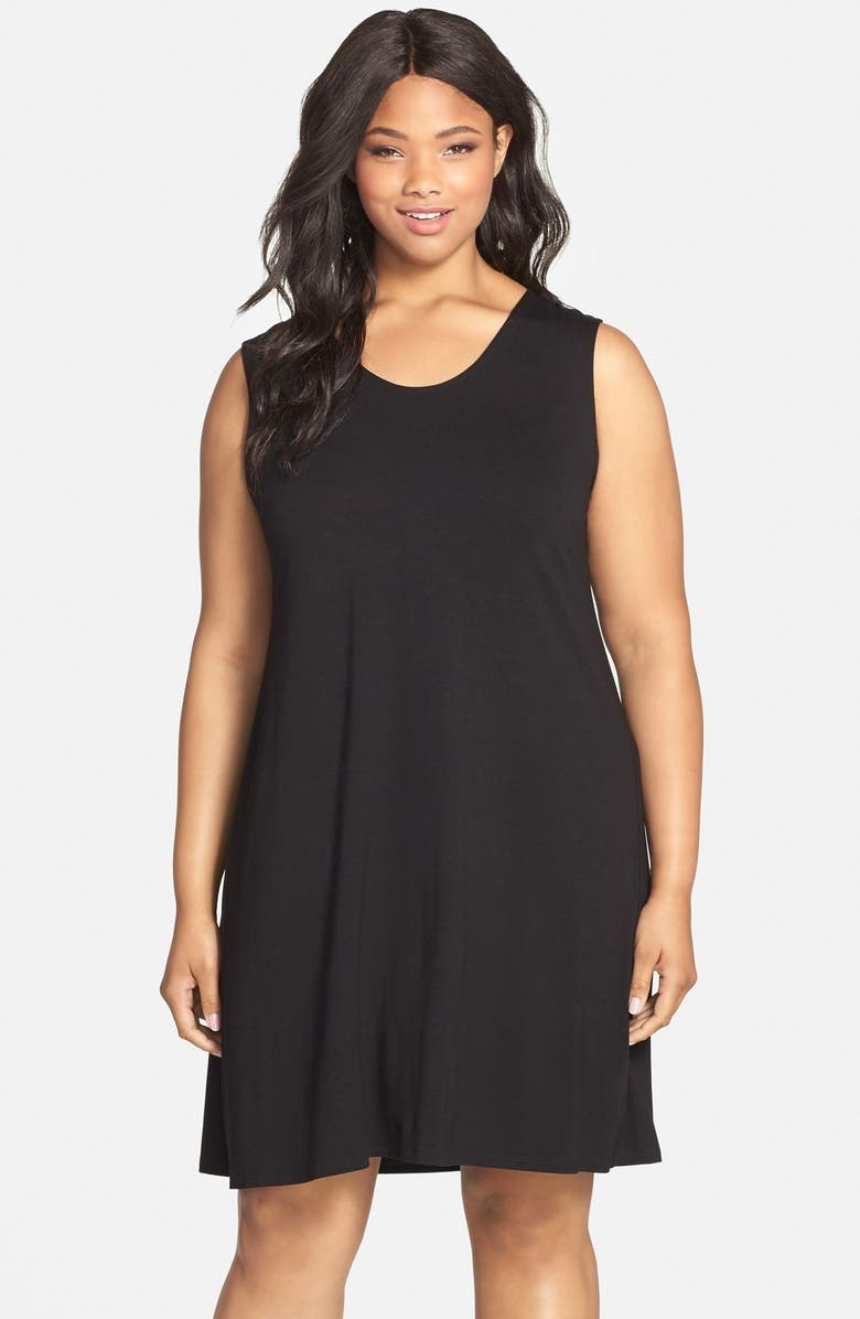 EILEEN FISHER Sleeveless Jersey Soft V-Neck Shift Dress, Main, color, 011