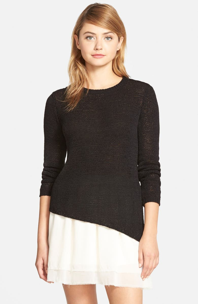CUPCAKES AND CASHMERE 'Sonoma' Asymmetrical Pullover Sweater, Main, color, Black