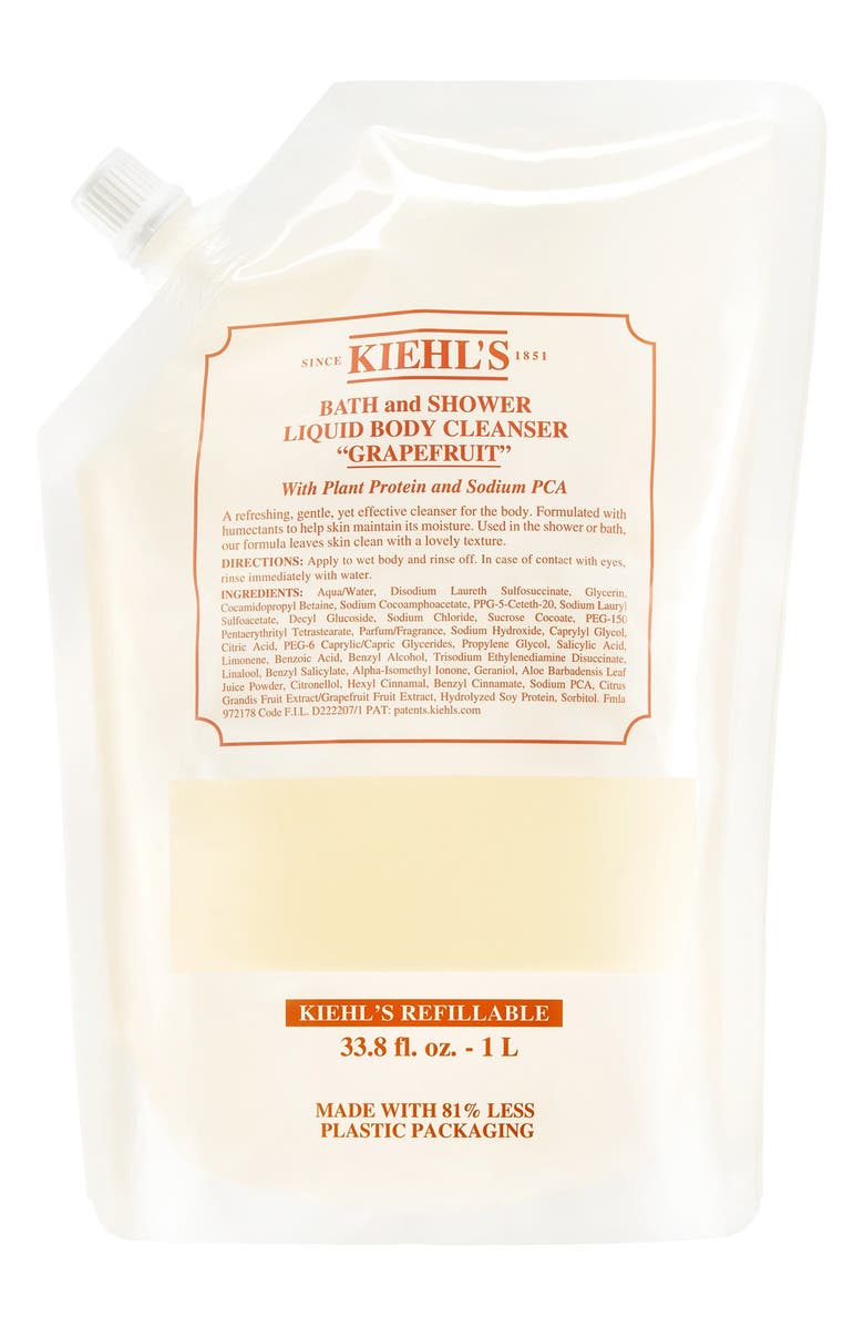 KIEHL'S SINCE 1851 Grapefruit Bath & Shower Liquid Body Cleanser, Main, color, REFILL