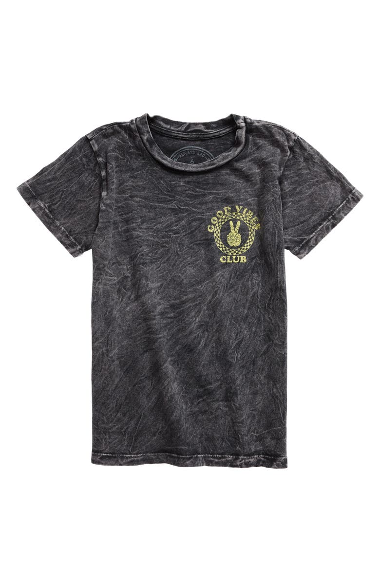 TINY WHALES Good Vibes Club T-Shirt, Main, color, MINERAL BLACK