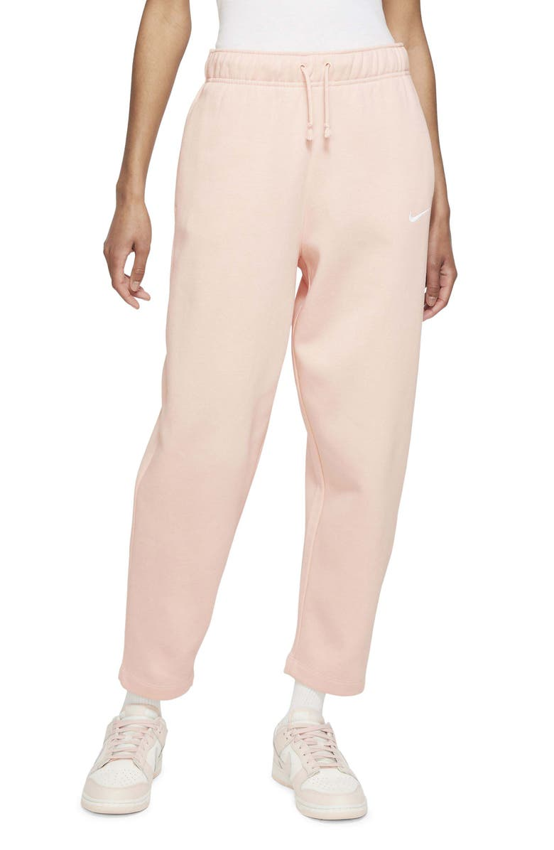 NIKE Sportswear Essentials Curve Ankle Pants, Main, color, PALE CORAL/ WHITE