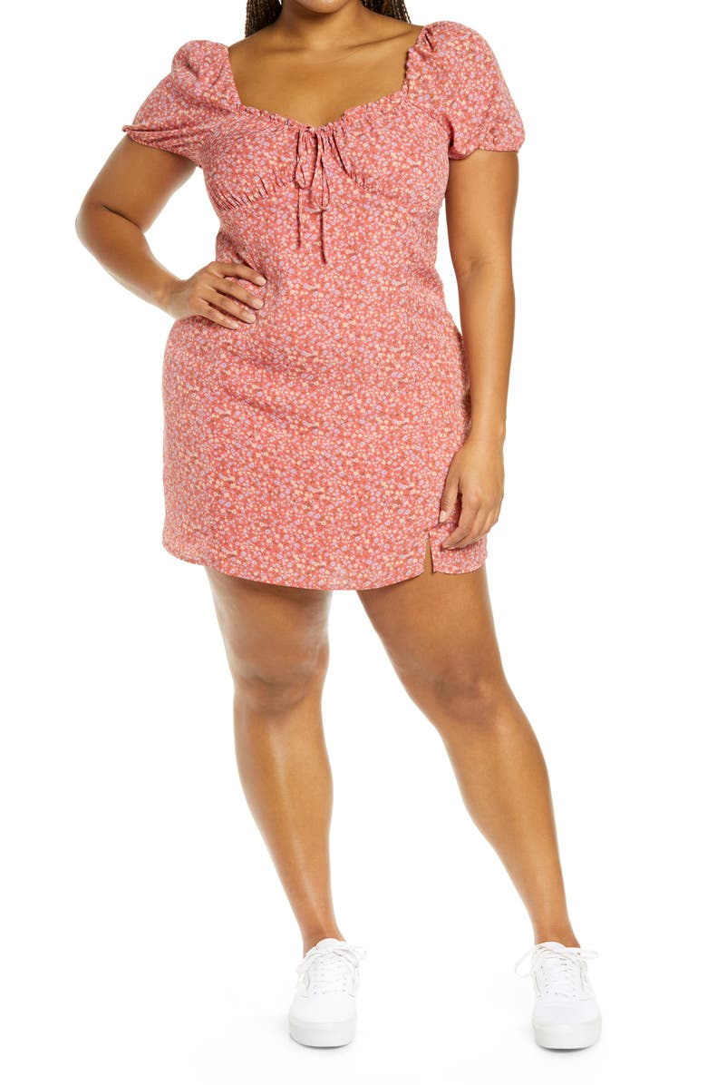 BP. Printed Tie Front Minidress, Main, color, PINK MULTI FLORAL