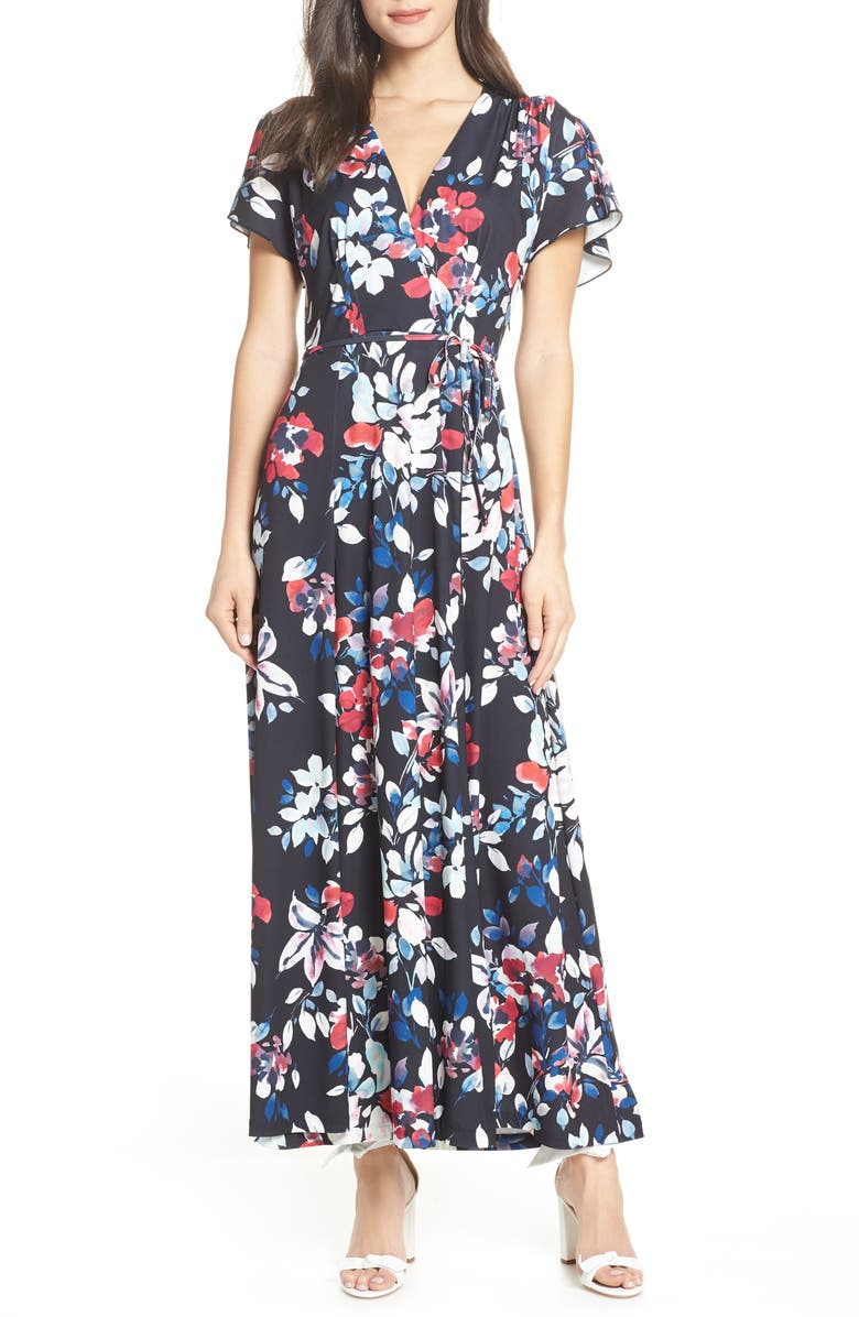 FRENCH CONNECTION Linosa Floral Print Faux Wrap Maxi Dress, Main, color, 421