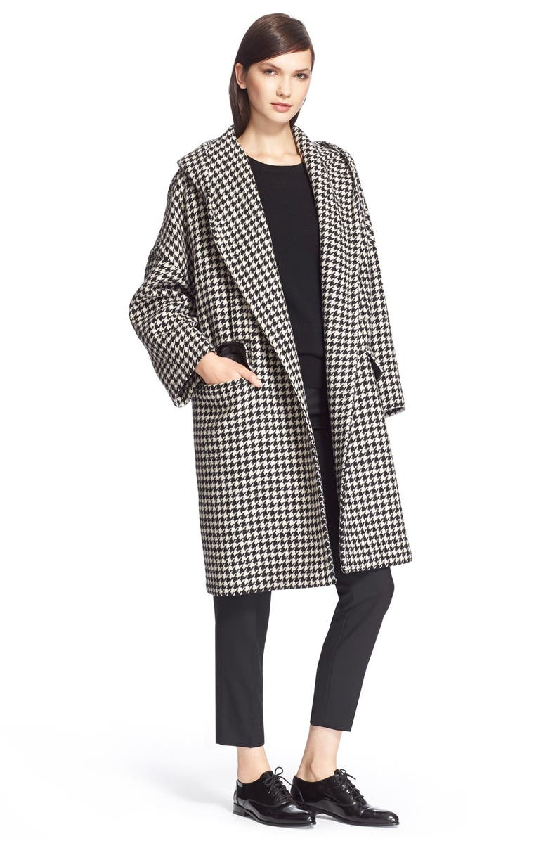 MAX MARA 'Palchi' Houndstooth Print Wool & Cashmere Hooded Coat, Main, color, 001