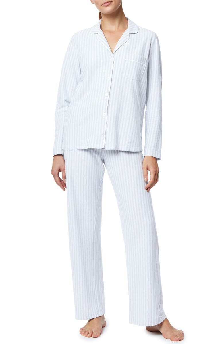 THE WHITE COMPANY Pink Stripe Brushed Cotton Pajamas, Main, color, 400