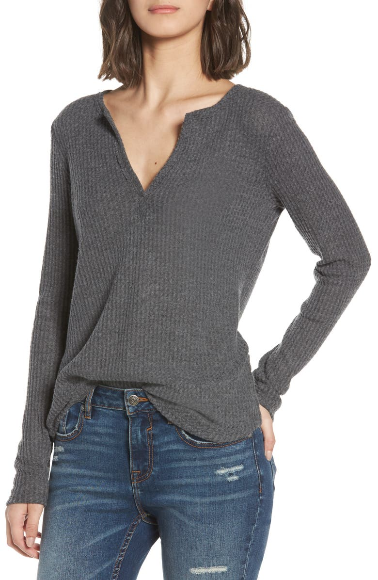 SOCIALITE Thermal Henley Top, Main, color, 034