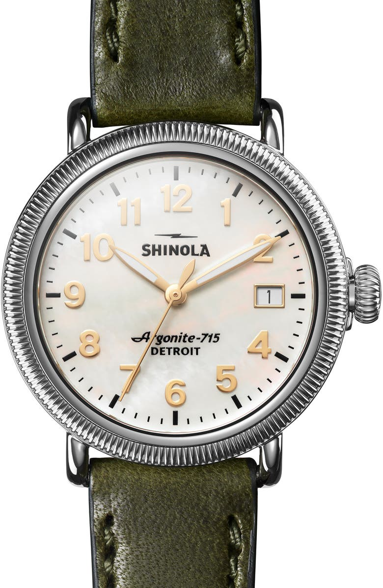 SHINOLA 'The Runwell' Leather Strap Watch, 38mm, Main, color, NO_COLOR