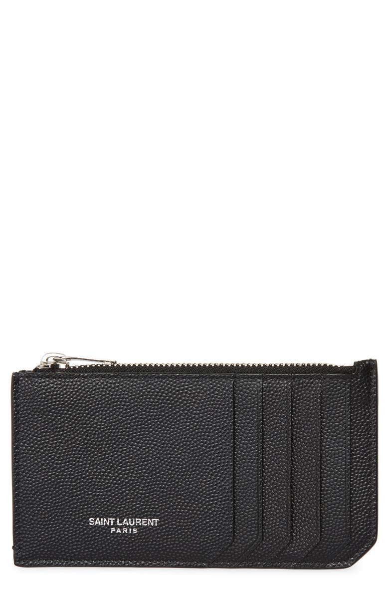 SAINT LAURENT Pebble Grain Leather Zip Wallet, Main, color, Black