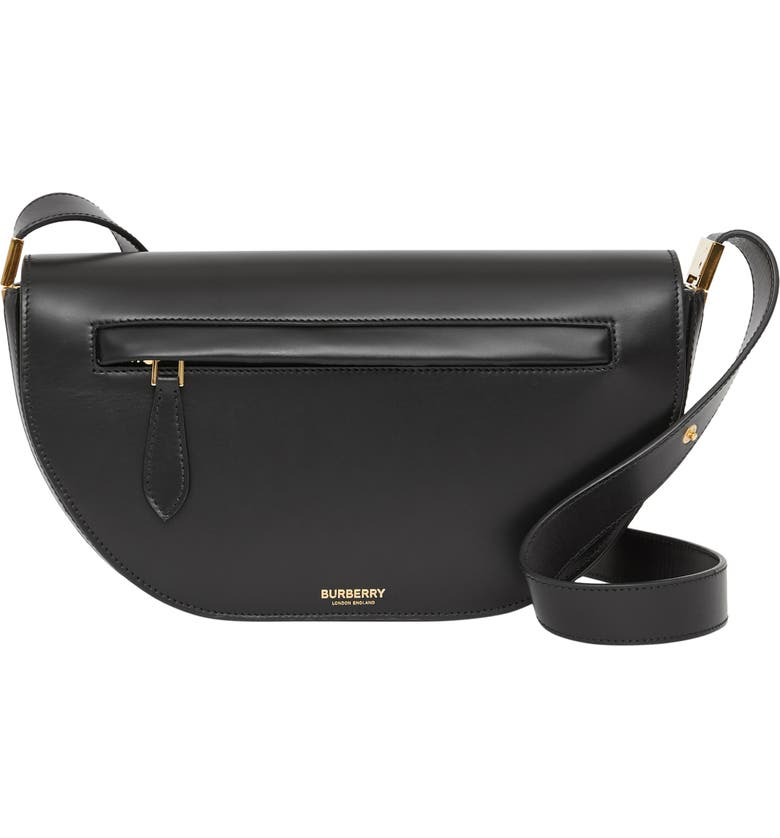 BURBERRY Small Olympia Leather Bag, Main, color, BLACK