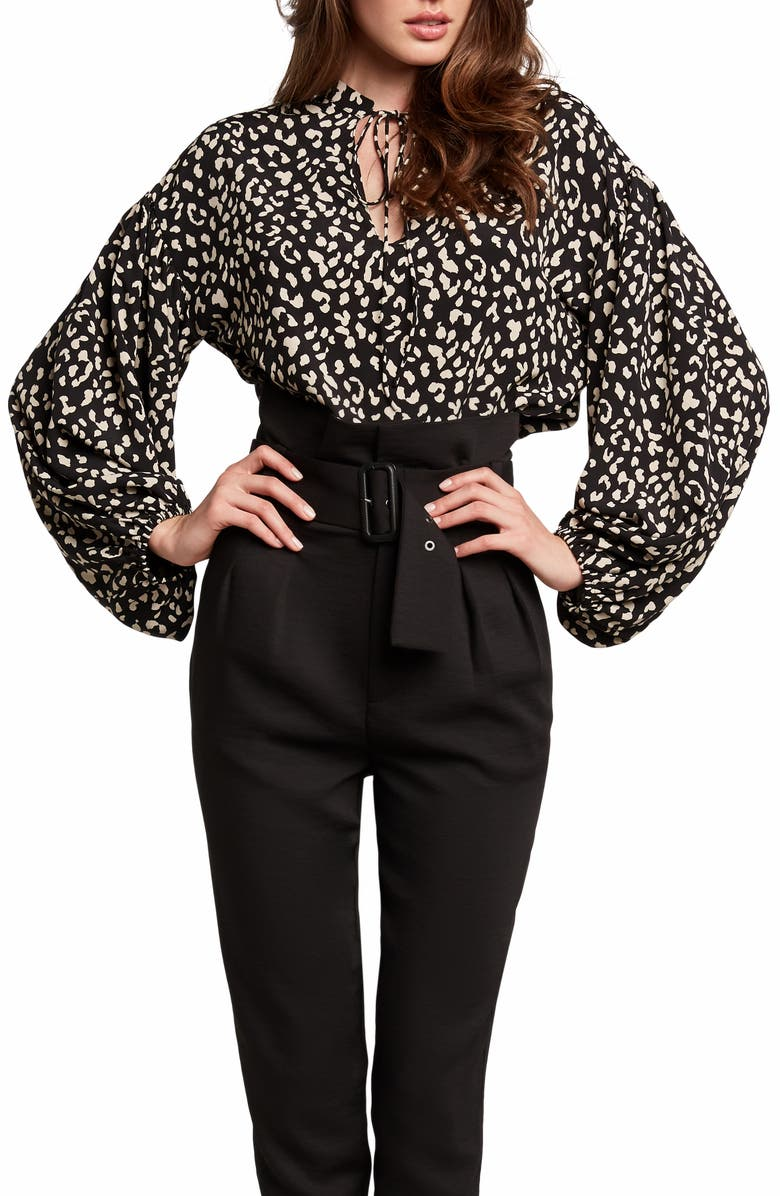 BARDOT Rita Leopard Print Tie Neck Blouse, Main, color, 400