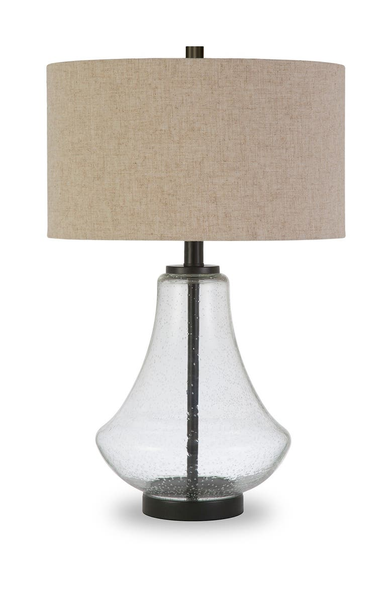 ADDISON AND LANE Lagos Table Lamp - Antique Bronze & Seeded Glass With Flax Shade, Main, color, SEEDED GLASS