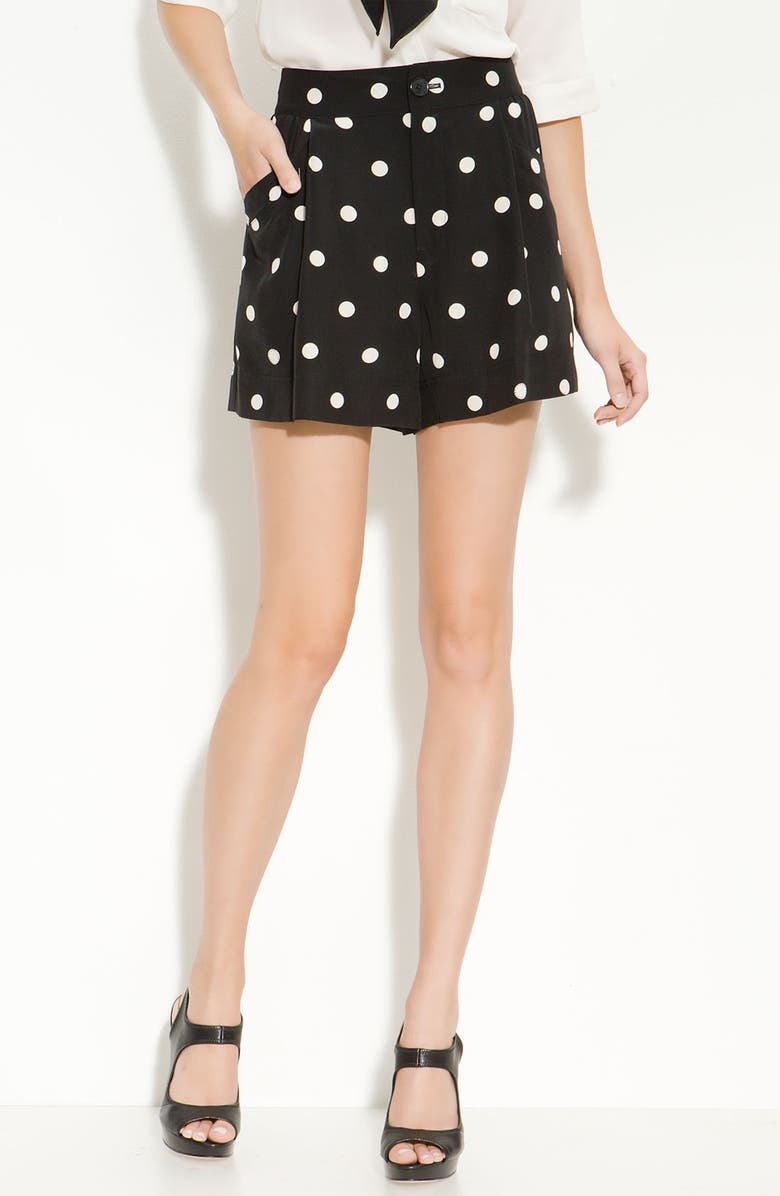 MARC BY MARC JACOBS Pleated Silk Polka Dot Shorts, Main, color, BLACK MULTI