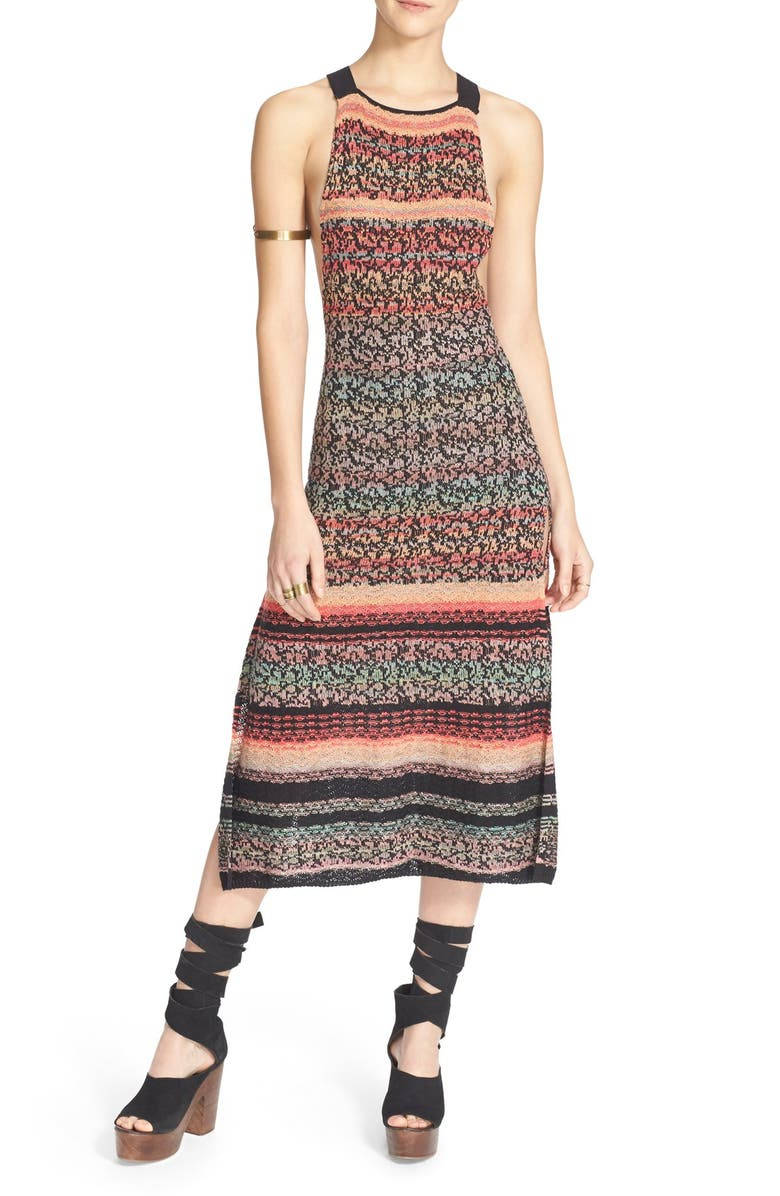 FREE PEOPLE 'Midnight Flowers' Split Hem Dress, Main, color, 001