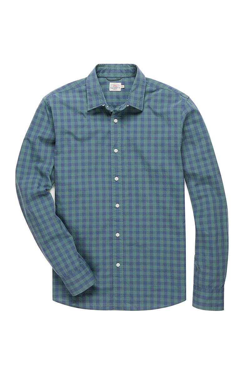 FAHERTY BRAND Movement Button-Up Shirt, Main, color, FOREST GINGHAM