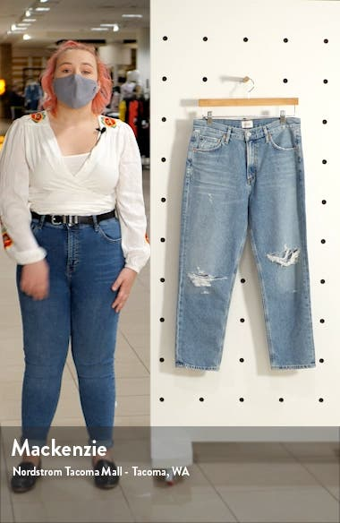 Marlee Nonstretch High Waist Distressed Relaxed Tapered Jeans, sales video thumbnail
