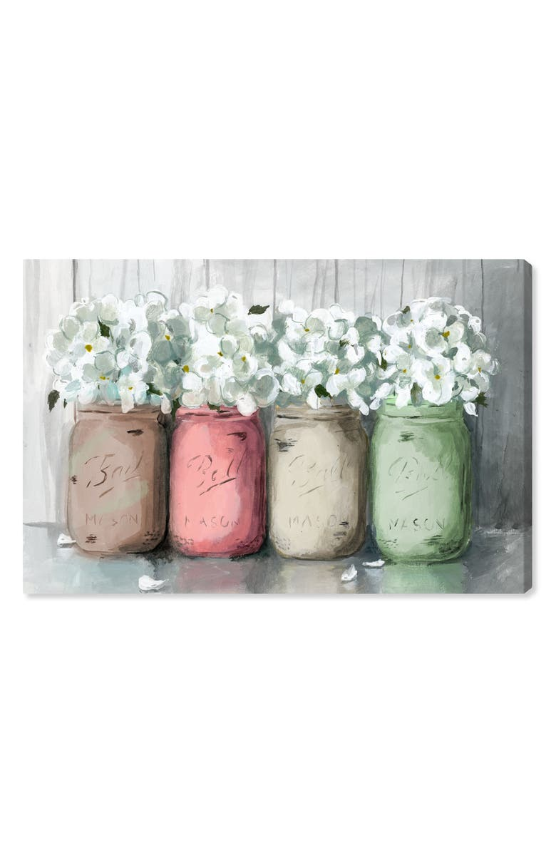 OLIVER GAL Mason Jar Muted Canvas Wall Art, Main, color, PINK GREEN WHITE BROWN
