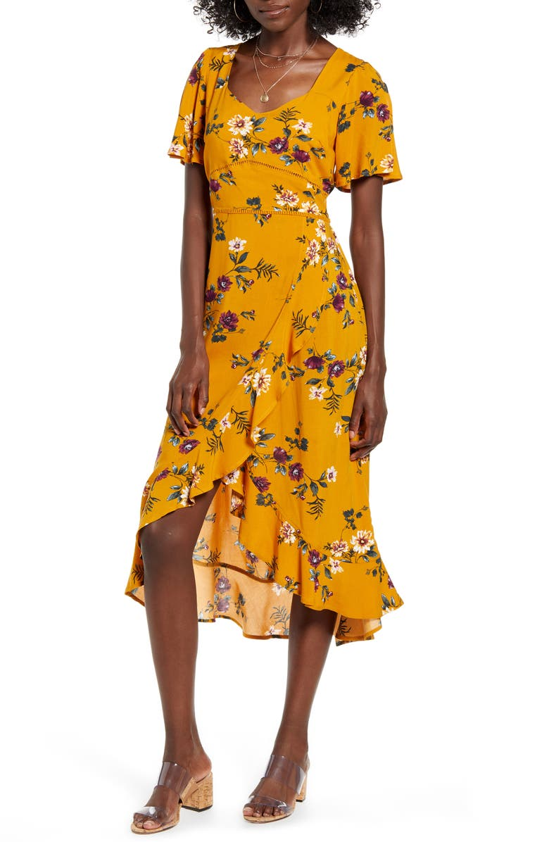 BAND OF GYPSIES Floral Flutter Sleeve Midi Dress, Main, color, 930