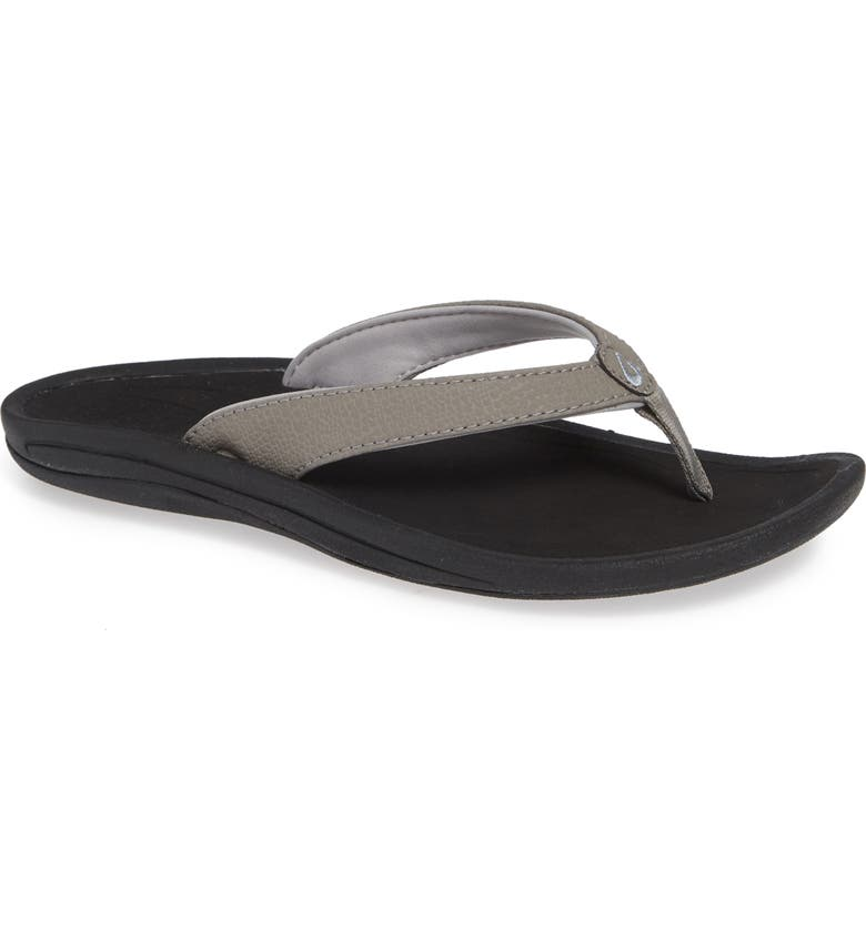 OLUKAI Kulapa Kai Thong Sandal, Main, color, FOG/ BLACK FABRIC