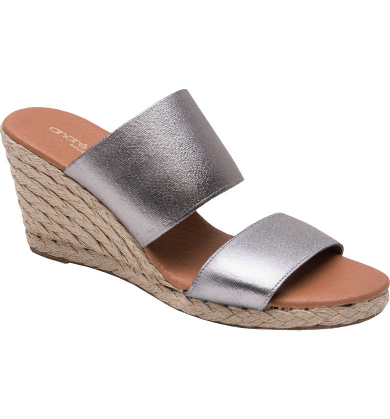 ANDRÉ ASSOUS Amalia Strappy Espadrille Wedge Slide Sandal, Main, color, PEWTER FABRIC