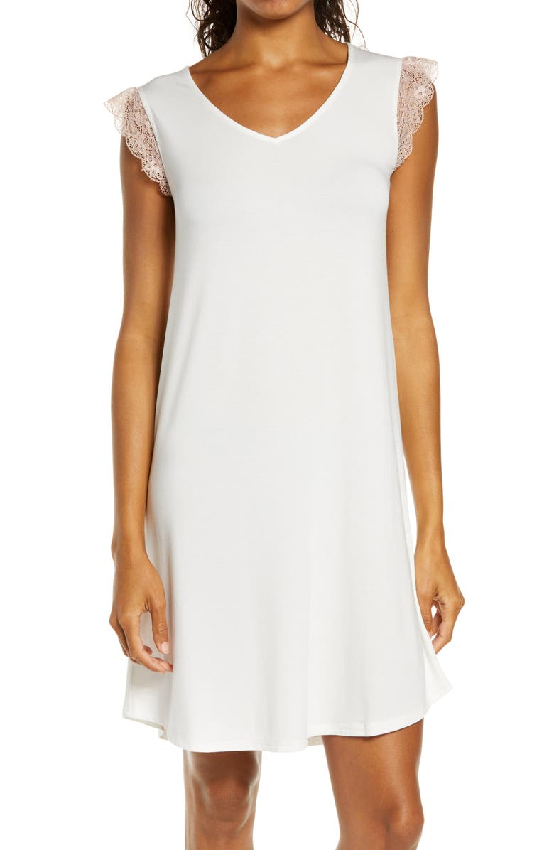 NORDSTROM Moonlight Lace Trim Nightgown, Main, color, 900