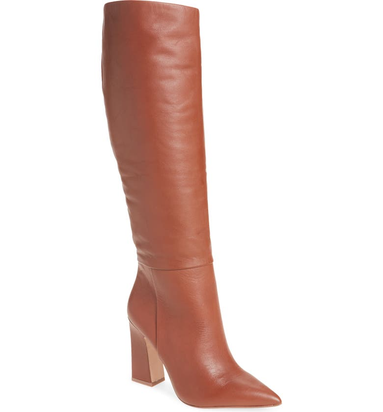 STEVE MADDEN Showbiz Pointed Toe Knee High Boot, Main, color, COGNAC LEATHER