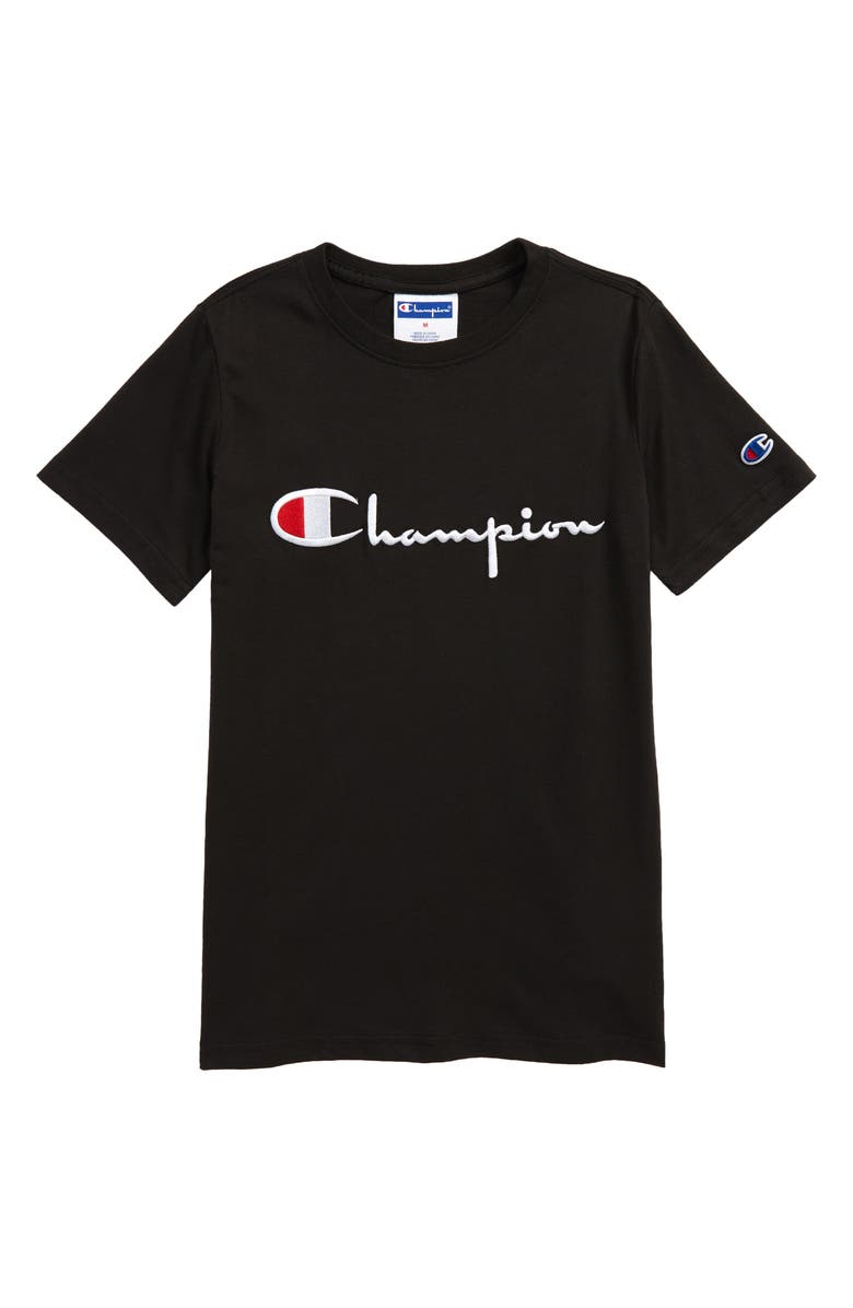CHAMPION Kids' Embroidered Script Logo T-Shirt, Main, color, 001
