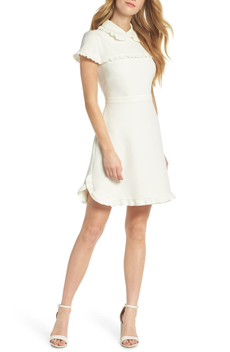 GAL MEETS GLAM COLLECTION Emma Ruffle Crepe Dress, Main, color, 101
