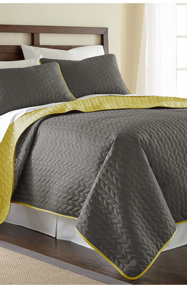 MODERN THREADS 3-Piece Queen Solid Reversible Coverlet Set - Steel Gray, Main, color, STEEL GRAY/BAMBOO