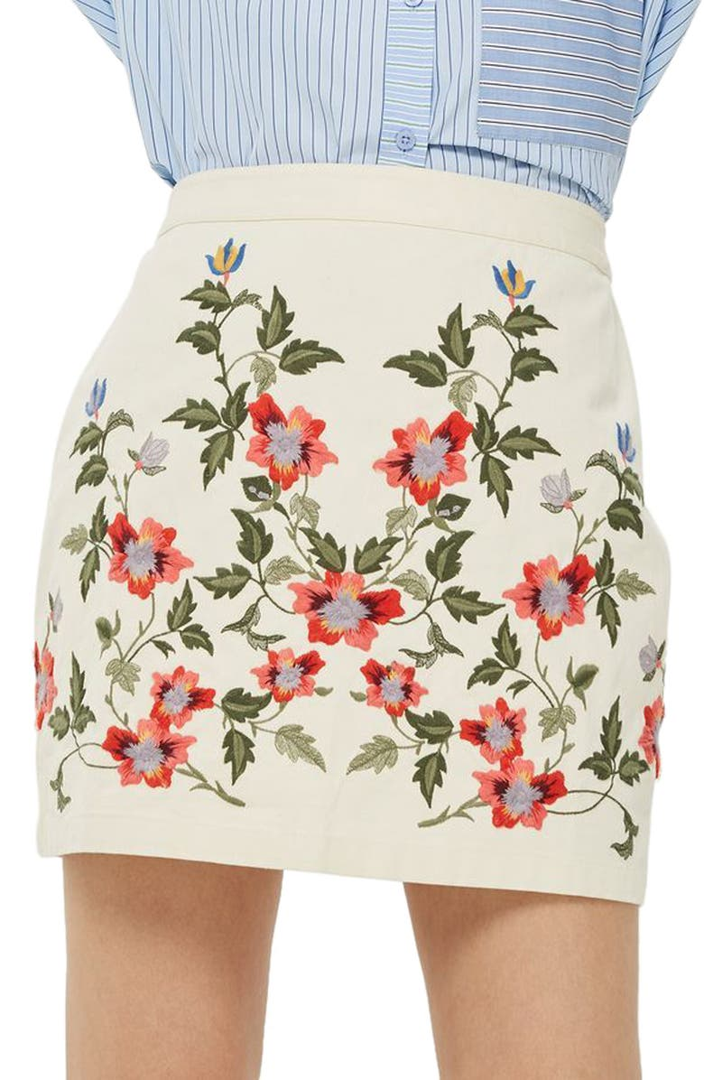 TOPSHOP Ivy Flower Embroidered Skirt, Main, color, 900