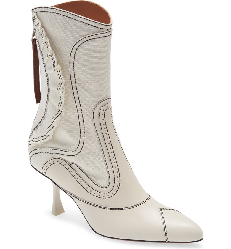 ZIMMERMANN Ruffle Patchwork Bootie, Main, color, IVORY