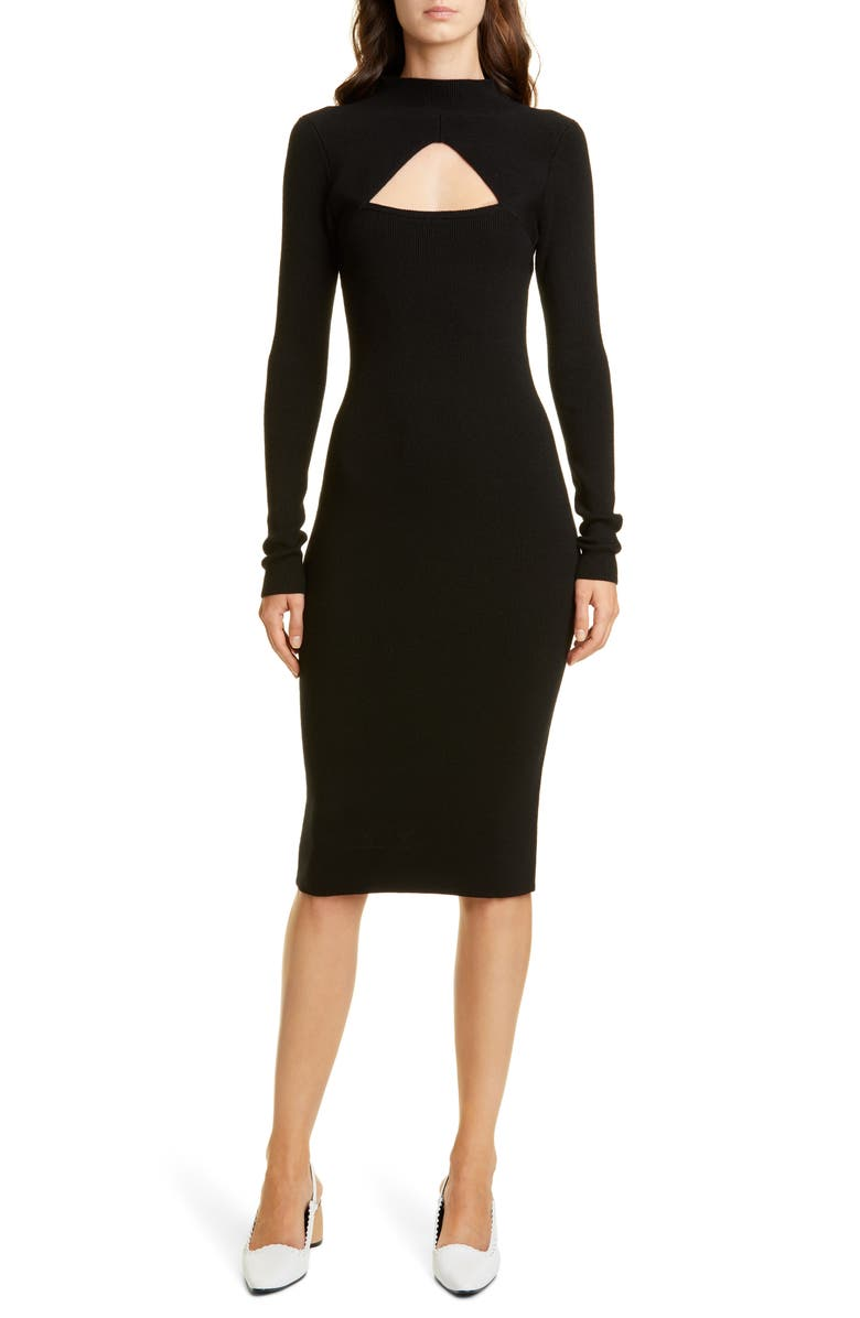 VICTOR GLEMAUD Merino Wool Long Sleeve Midi Sweater Dress, Main, color, 001