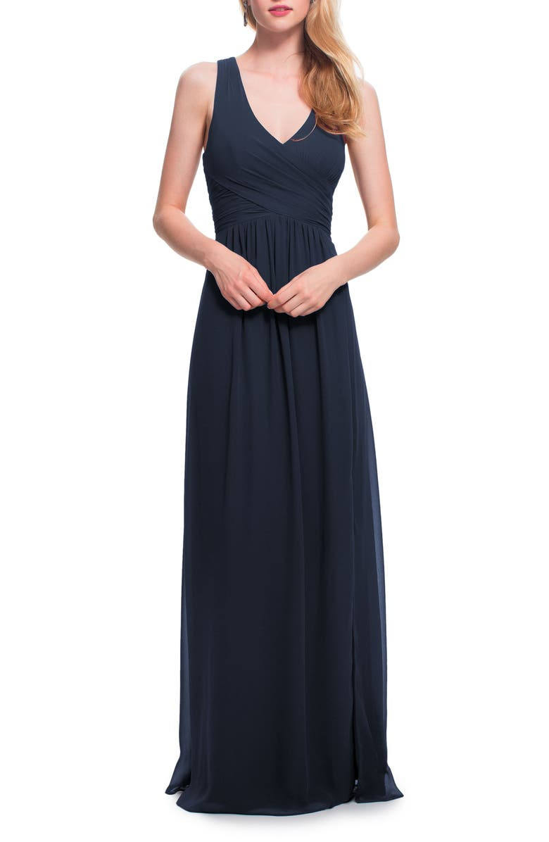 #LEVKOFF Back Cutout Chiffon A-Line Gown, Main, color, 415