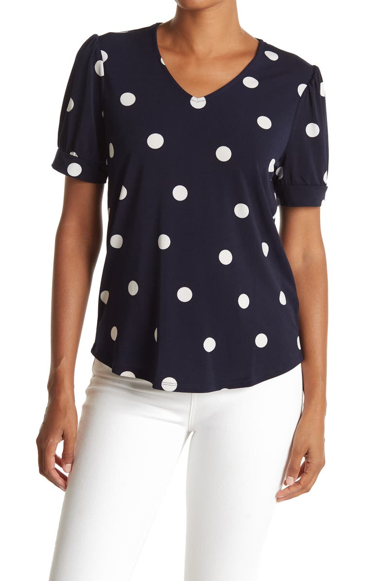 ADRIANNA PAPELL V-Neck Short Sleeve Dot Print Knit Miss Crepe Top, Main, color, NAVY/IVORY BIG DOTS