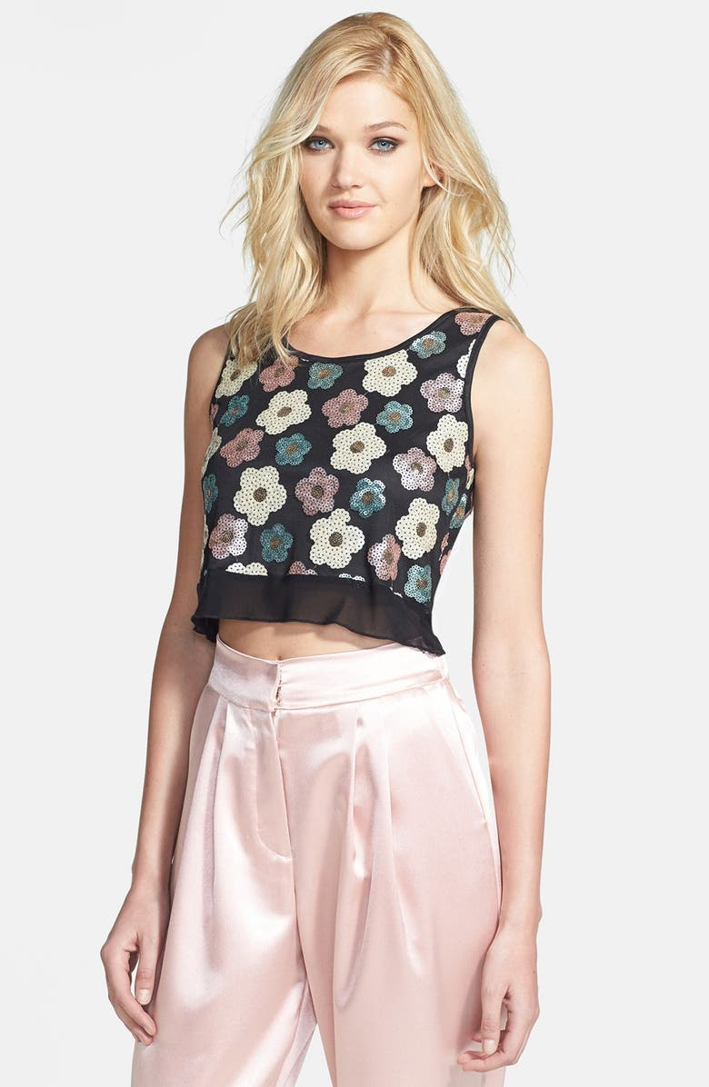 TILDON Sequin Floral Crop Top, Main, color, 001