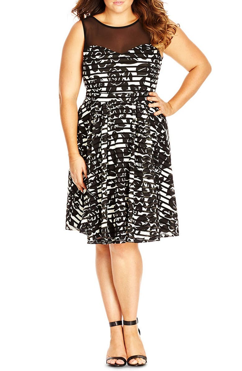 CITY CHIC Sheer Panel Mono Print Fit & Flare Dress, Main, color, 001