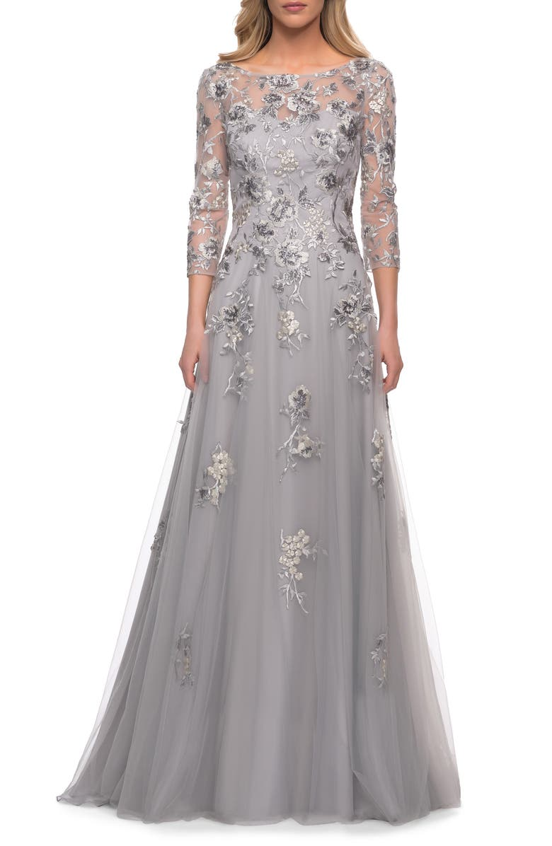 LA FEMME Beaded Lace Tulle A-Line Gown, Main, color, SILVER