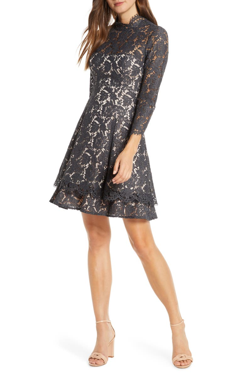 ELIZA J Long Sleeve Lace Fit & Flare Dress, Main, color, GREY