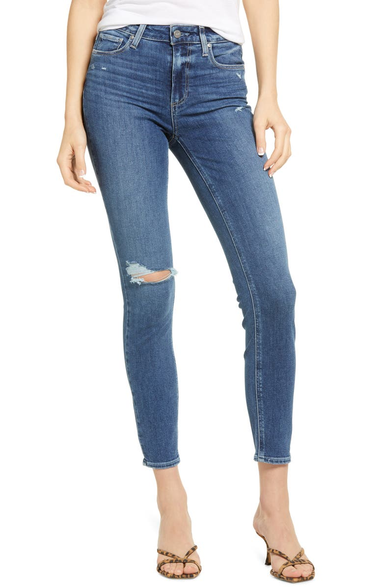 PAIGE Hoxton Distressed Ankle Skinny Jeans, Main, color, BLAINE DESTRUCTED