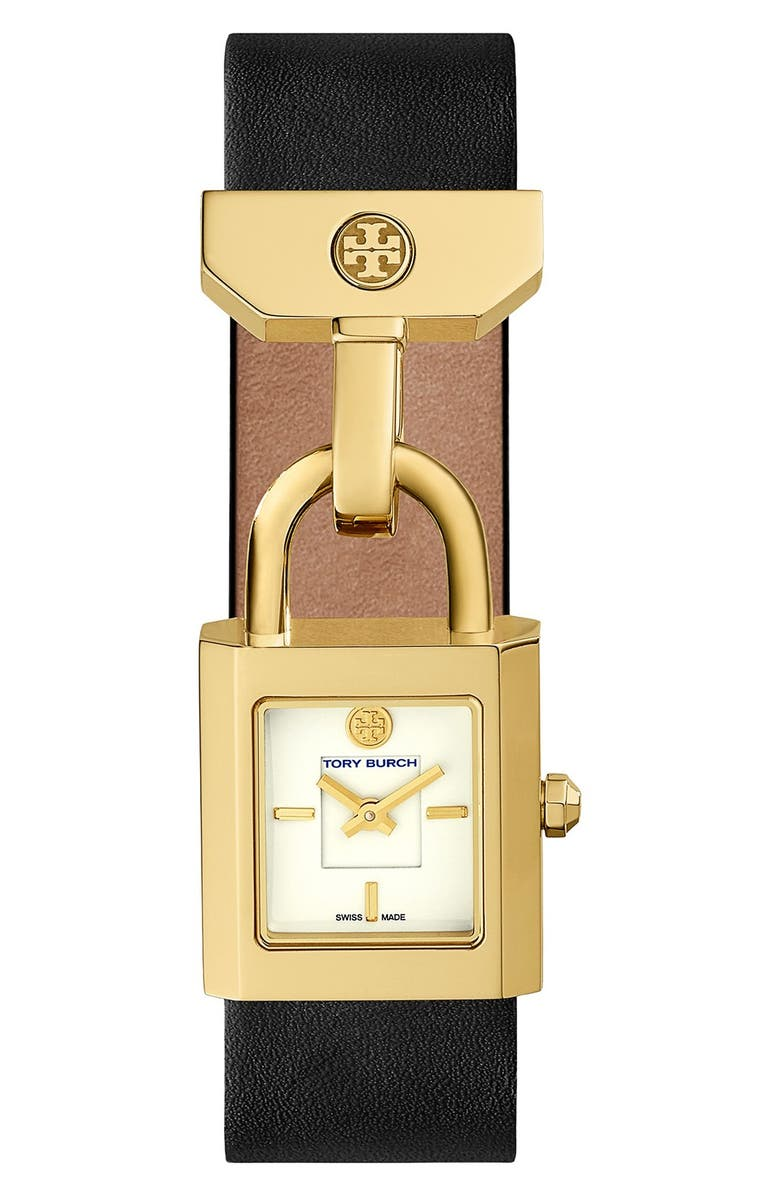 TORY BURCH 'Surrey' Leather Strap Watch, 22mm x 24mm, Main, color, 001