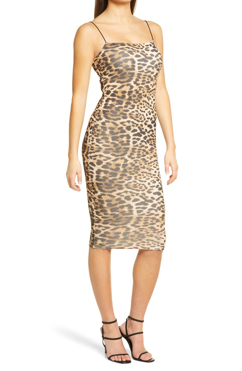 NAKED WARDROBE Sultry Sheath Dress, Main, color, LEOPARD
