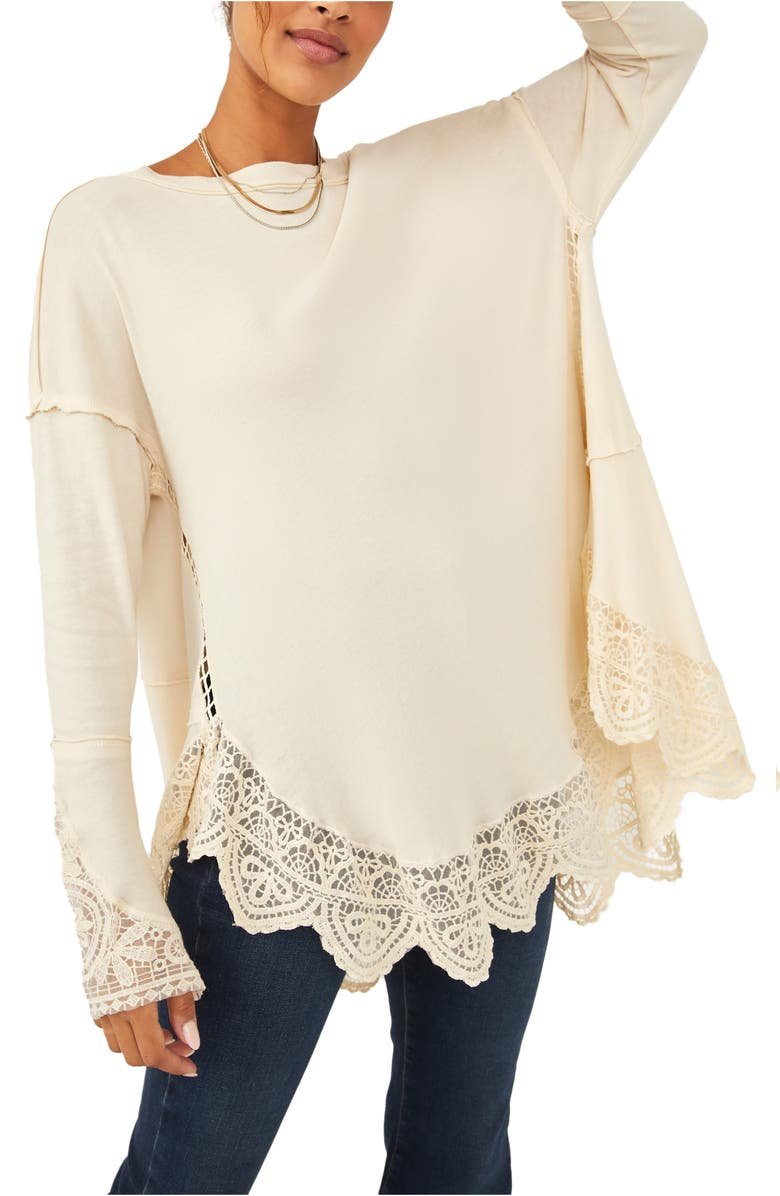 FREE PEOPLE Sparrow Lace Detail Cotton Tunic Top, Main, color, IVORY