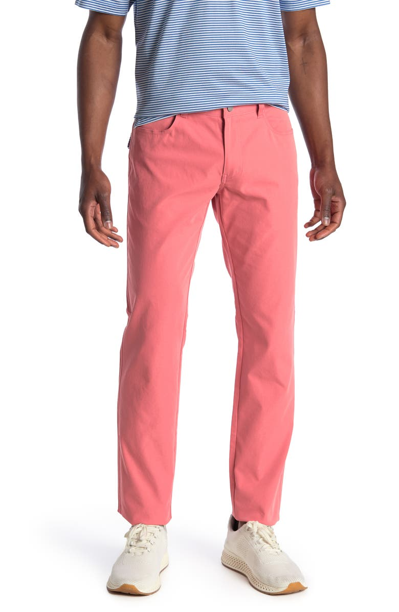 PETER MILLAR Performance 5-Pocket Chino Pants, Main, color, RED GINGER