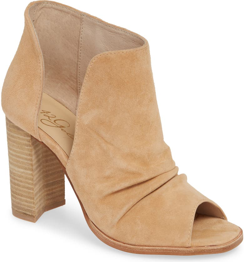 42 GOLD Loyalty Open Toe Bootie, Main, color, SAND SUEDE