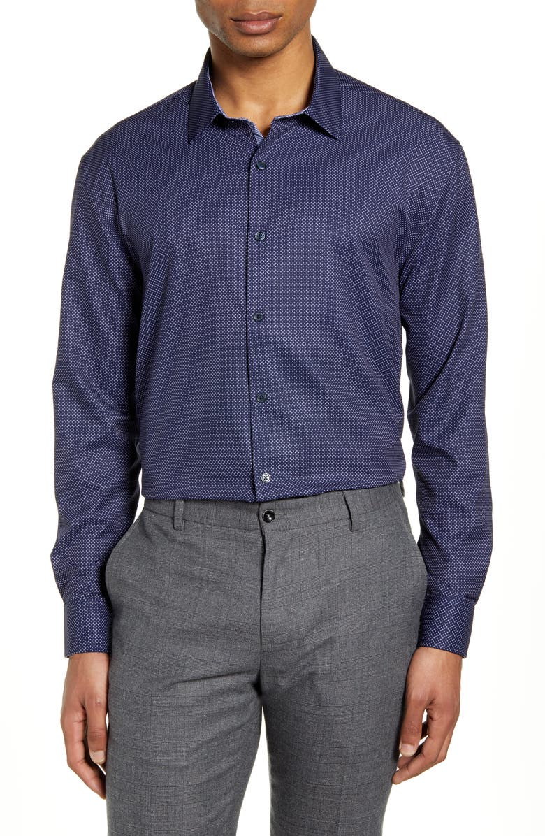 W.R.K Trim Fit Performance Stretch Dot Dress Shirt, Main, color, NAVY