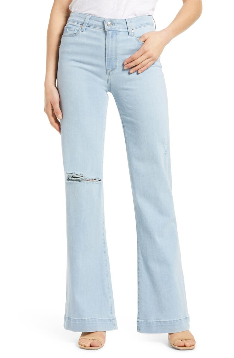 PAIGE Leenah Ripped High Waist Wide Leg Jeans, Main, color, BROADWAY DESTRUCTED