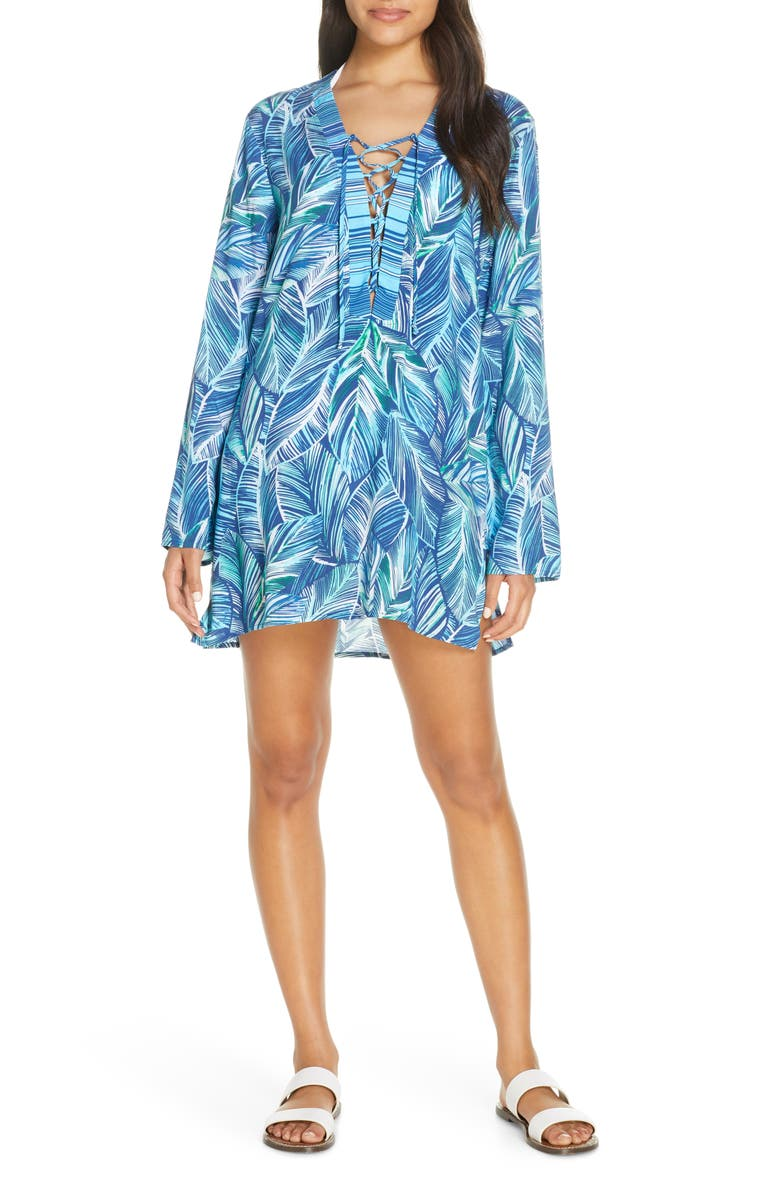 LA BLANCA Sketched Leaves Long Sleeve Tunic Cover-Up, Main, color, POOL